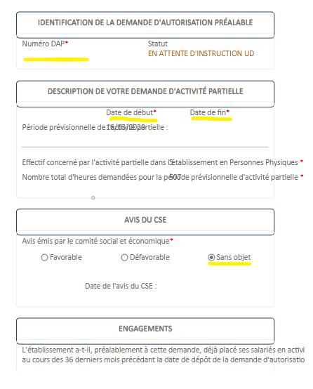 Demande d'activité partielle - Identification de la demande d'autorisation préalable